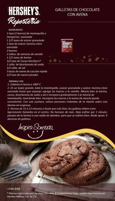 Galletas de chocolate con avena #nutricioninfografia Chocolate Crinkles, Chocolate Cookies, Chocolate Recipes, Macarons Chocolate, Chocolate Chocolate, Chocolate Cheesecake, Chocolate Pudding, Cookie Desserts, Cookie Recipes