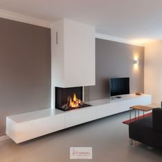 Bench storage all along lounge wall? Living Room Decor Fireplace, Home Fireplace, Modern Fireplace, Home Living Room, Interior Design Living Room, Gas Fireplaces, Modern Tv Room, Contemporary Fireplace Designs, Living Room Tv Unit Designs