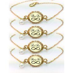 Sisters Bracelets Set of 4 - Big Sis, Mid Sis Lil Sis And Baby Sis Set Of 4 Matching Bracelets- 24K Gold Plating
