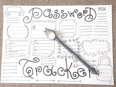 password tracker pin journal printable web site remember