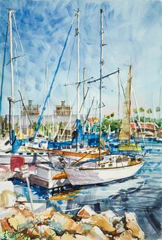 Scene at Harbor, Redondo Beach Transparent Watercolor Painting CLICK TO ENLARGE