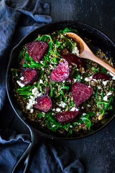 Warm Lentils with wilted chard, roasted beets, goat cheese and spring herbs. A simple tasty vegetarian meal! Easy to throw together if you have the lentils pre-cooked and the chard already washed. Tasty Vegetarian Recipes, Healthy Recipes, Vegetarian Dinners, Vegan Meals, Beet And Goat Cheese, Dried Lentils, Black Lentils, Roasted Beets, Roasted Lentils