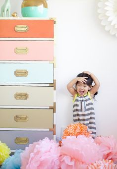 pops of color, whimsy, and gold accents for a little girl's room