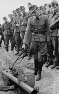 German Soldiers during Anti-Tank training with the Panzerschreck.  Training