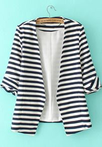 Navy+White+Striped+Long+Sleeve+Fitted+Blazer+US$27.95