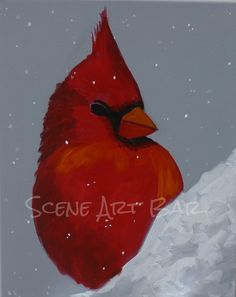 Step by Step Beginners Acrylic Painting, Red Cardinal