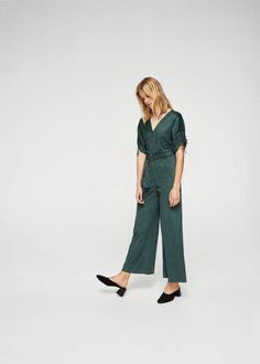 STYLECASTER | Fall Jumpsuits | Ruched Sleeve Jumpsuit