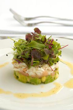 Crab, Avocado, Pickled Ginger and   Baby Herbs with Lemon Dijon Vinaigrette