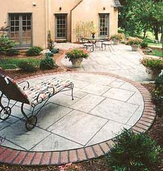 Stamped concrete patio with brick edging and stone inside look, plus multiple levels Poured Concrete Patio, Cement Patio, Stamped Concrete, Concrete Patios, Outdoor Garden Rooms, Outdoor Walkway, Terrace Garden, Wood Walkway, Cement Garden