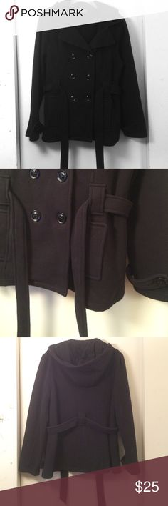 Black Fleece Pea Coat This pea coat is made of a soft fleece material to make it a joy to wear! It has a hood, two front pockets, and a belt around the middle. Very stylish! MM Essentials by Marc Mattis Jackets & Coats Pea Coats