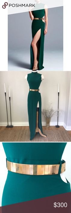Ieena For Mac Duggal gold Belted green dress NWOT Brand new without tags. Awesome as a Bridal gown, couture dress, pageant gown, prom, evening, or formal dress. The belt needs to be polished. Check Out my closet for more Mac Duggal gowns. Refer to Mac Duggals size charts for all measurements. 9️⃣Ⓜ️ Mac Duggal Dresses Prom