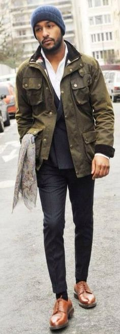 Olive Green Field Jacket, Black Jeans, and Caramel Leather Monk Strap Shoes, Men's Fall Winter Street Style fashion.