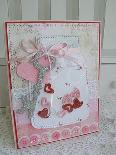 Valentine card. Key is from Cricut