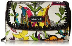 Sakroots Artist Circle XL Trifold Wallet. 7.4in l x 1.25in w x 4.8in h. Front compartment with snap closure features 7 cards slots, an id window, and 2 extra compartments. Main compartment features a zippered coin pocket and three large slit pockets.