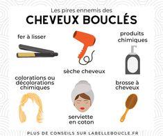 Le fer à lisser, le sèche cheveux, les produits chimiques, les colorations ou décolorations chimiques, les serviettes en coton et la brosse à cheveux non adaptée.