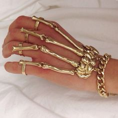 Punk Rock Skeleton Hand Bone Ring Bracelet