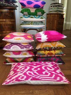 Silk Ikat & Velvet pillows www.luxurydejavu.com