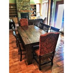 Custom 8 Person Farmhouse Table With A Lake View. Built From Reclaimed Barn  Flooring And