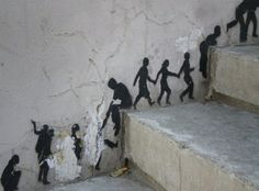 street art - I want to do this with paper silhouettes on our staircase. The children would love it.