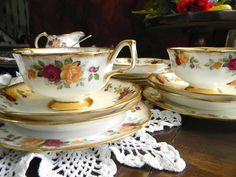Antique Tea Cups Arklow Irish Bone China 16pc by TheVintageTeacup, $145.00