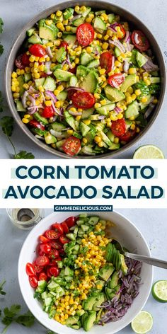 Corn Tomato Avocado Salad is the perfect summertime dish. Add it to your next cookout spread and watch it disappear faster than you made it. Avocado Salad Recipes, Healthy Salad Recipes, Veggie Recipes, Vegetarian Recipes, Cooking Recipes, Avacodo Salad, Bean Recipes, Kitchen Recipes, Summertime Salads
