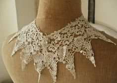 Beautiful Antique Schiffli Lace Collar Pre by BrocanteArt on Etsy, £19.50