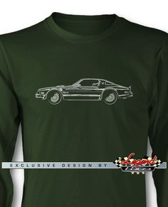 1977 Pontiac Trans Am Coupe Long Sleeves T-Shirt - Side View - A game of subtle lights and shadows reveal the magnificent curves of the body of the 1977 Pontiac Firebird Trans Am Coupe, a Legendary American Automobile. Detailed and harmonious, the artistic illustration has grabbed the essence of one of the most influential vehicle of the 20th century and is printed in front of the tee. Refine and stylish, it is a perfect wear for any occasion and to show your passion for a true Legend!