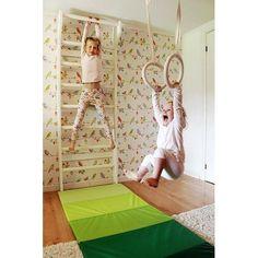 Mikka of Scandinavia - Romerska Ringar Barn - 500 Cm Vita Remmar - Brunt Trä Gym Room, Kids Room Organization, Dream Furniture, Kids Room Design, Playroom Decor, Inspiration For Kids, Bedroom Colors, Kids Bedroom, Bedroom Ideas