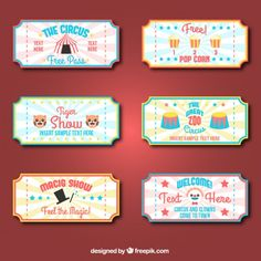 Nice collection of circus tickets Free Vector