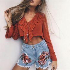 Flower Rose Embroidery Denim Boho Shorts