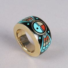 Gold Ring with Inlay Item: Material: gold, jet, turquoise, coral Size: Ring size Period: vintage Origin: Hopi Pueblo Artist: Jessie Monongye Price Available on Request Gems Jewelry, Womens Jewelry Rings, Jewelry Art, Jewelery, Unique Jewelry, Jewelry Design, Women Jewelry, Tribal Jewelry, American Indian Jewelry