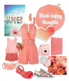 """""""Coral Summer Day"""" by mommastephud ❤ liked on Polyvore featuring Lipsy, adidas, ADZif, Miguelina, Polaroid, Luli, Victoria's Secret, Sephora Collection, Melissa and Kate Spade"""