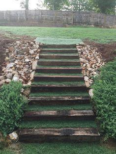 DIY outdoor landscaping stairs, rail road ties