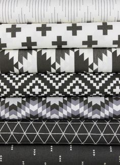 """Camelot Fabrics, Nordic, Carbon 7 Total  Each 1/2 Yard measures: ~18"""" x 44/45""""  You will receive a 1/2 yard of each of the following:  Harlequin Dash Au Natural Cross Carbon Mirrored Carbon Lozenges Carbon Diamonds Iron Grid Carbon Triangles Carbon  Fiber Content: 100% Cotton   If you would like to have 1 full yard of each, please enter 2 in the Qty Box.  Yardage is cut in one continuous piece when possible.  Hoverover image for a larger, better view."""