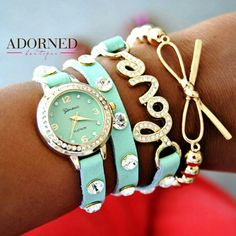 www.shopadornedonline.com  Watch stack available for $60 plus shipping. arm party, watch stack