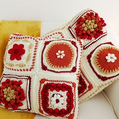 Ravelry: Fall In New England Cushion pattern by Cat Venner Crochet Cushion Pattern, Crochet Cushions, Crochet Patterns, New England Fall, Front Post Double Crochet, Caron Simply Soft, Soft Autumn, Square Patterns, Paintbox Yarn