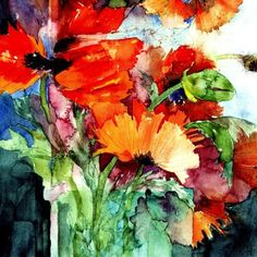 Great watercolor by Shirley Trevena! Watercolor Artists, Watercolor And Ink, Watercolour Painting, Watercolor Flowers, Painting & Drawing, Watercolours, Art Floral, Shirley Trevena, Painting Inspiration
