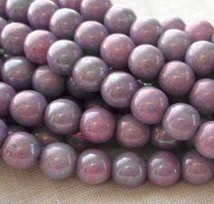 Fifty 6 mm Czech glass Luster Opaque Light Purple, druk beads, C6950