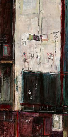 "anne-laure djaballah - home, interior | acrylic on panel 48x12"" 2005 Art & Style By Adolfo Vasquez Rocca D.Phil Colecction"