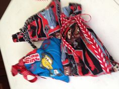 Party bags sewn and stuffed with goodies for Eron's Cars themed birthday party.