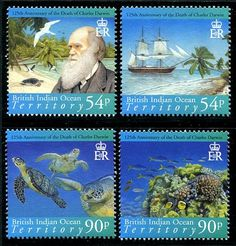 British Indian Ocean Territory Charles Darwin (Sea Turtle, Ship) Stamps