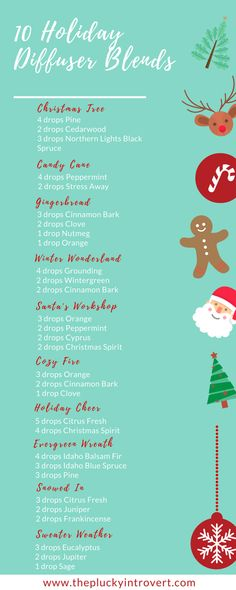Yummy smelling diffuser recipes and blends for winter! Can't wait to try these ones out for Christmas!