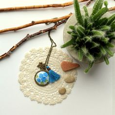 Romantik cabochon necklace blue flowers