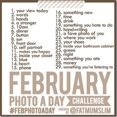 daily photo tasks- maybe for march for me now