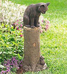 cat garden decor. Weatherproof-hand-finished-bronze-colored-cat-and-mouse-. Cat StatueGarden StatuesGarden SculptureOutdoor Garden Decor T