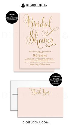 Stunning soft blush pink & gold glitter bridal shower invitations with matching flat thank you card available at digibuddha.com.  Also comes in wedding invitations, rehearsal dinner invitations, any event you may need.