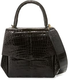 Nancy Gonzalez Crocodile Medium Structured Top-Handle Bag, Black Shiny