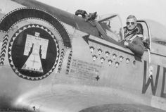 """335's Ted Lines in the cockpit of his """"Thunder Bird."""" This is Lines' second D model with this name. 44-14570, WD-D, P-51D-10-NA."""