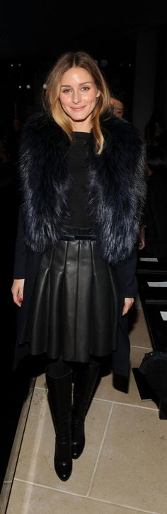 Olivia Palermo in a pleated leather skirt