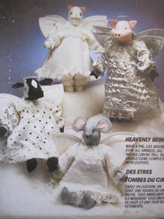 Craft Patterns, Doll Patterns, Sewing Patterns, Cat Mouse, Sally, Heavenly, Doll Clothes, Cow, Angels